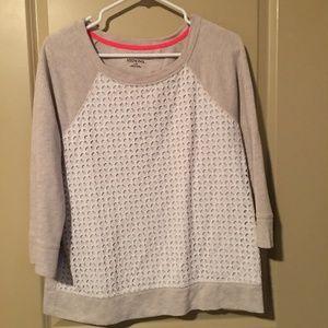 Oatmeal and White eyelet 3/4 sleeve sweater